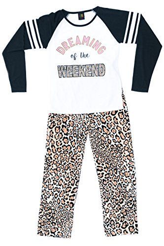 44642-10114-7/8 Just Love Two Piece Girls Pajamas Set, 7-8, Weekend Leopard (7 Leopard Piece)