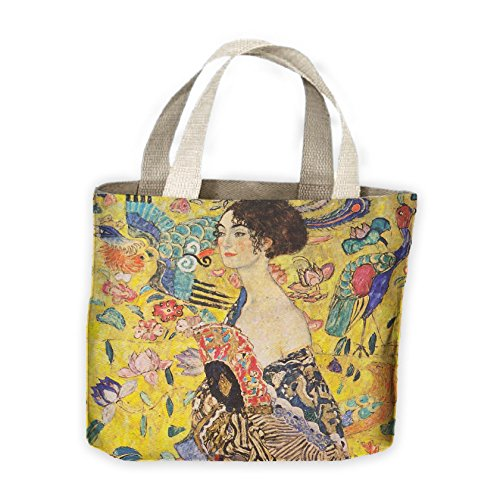 for Tribal with Womens T Bag Tote Klimt Gustav Shirts Fan Lady Shopping Life TrAPwT
