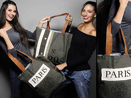 """Borsa in tessuto con scritta """"Paris"""" e manici in pelle"""