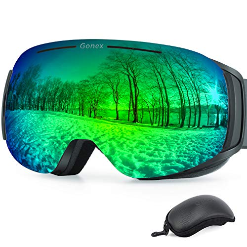 Gonex Magnetic Ski Goggles, Rimless Snowboard Goggles with Interchangeable Lens, Anti-Fog 100% UV 400 Protection Snow Goggles for Men& Women, Large Size Gray Frame Green Lens