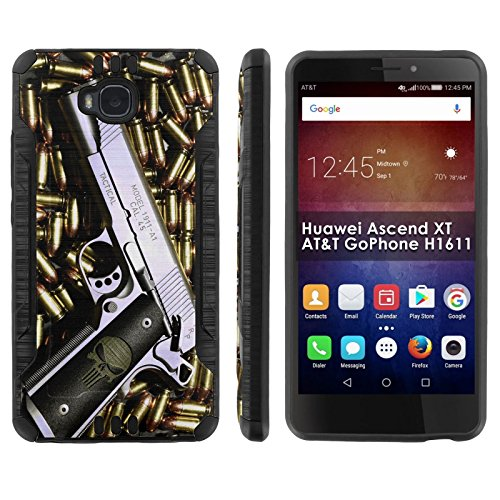 Click to buy [Mobiflare] Huawei Ascend XT [AT&T H1611] Shock Proof Armor Phone Cover [Black/Black] Defender Protective Case - [Punisher Hand Gun] for Huawei Ascend XT [AT&T GoPhone H1611] [6