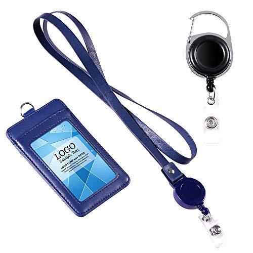 - Badge Holder, Life-Mate ID Cards Badge Holder & Retractable Lanyard Neck Strap Band. Additional Heavy Duty Metal Retractable Badge Reel with Belt Clip (2-Sided 3 Slot, Blue)