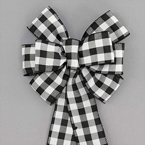 Black White Buffalo Plaid Christmas Wreath Bows - available in 2 sizes