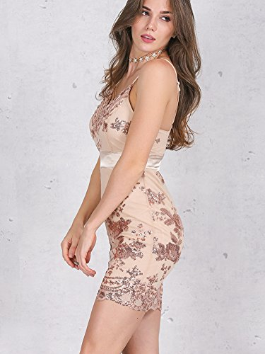 Simplee Backless Bodycon Floral Neck Apparel V Dress Gold Sequin Strap Women's 0qXxrwI80