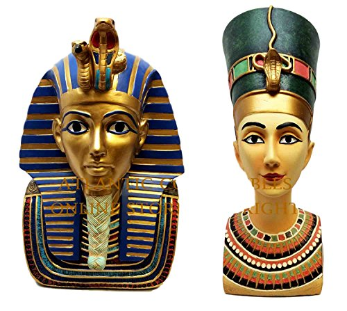 King Tut's Tomb Halloween (Atlantic Collectibles Mask Bust Of Pharaoh King Tut And Queen Nefertiti Decorative Figurine)