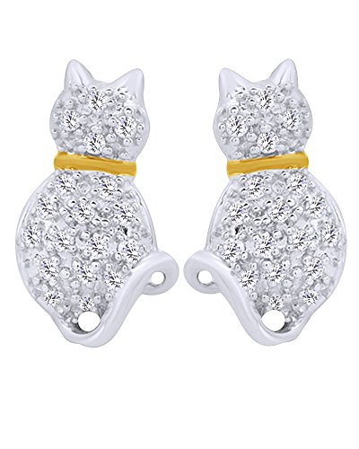 1/8 CT Diamond Two Tone Cat kitty Stud Earrings in 14K White Gold over Sterling Silver by Wishrocks