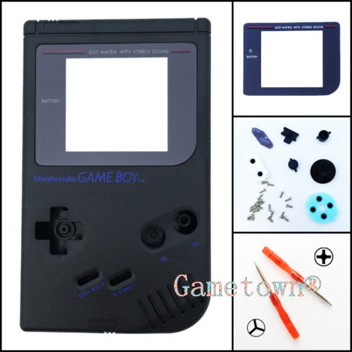 Gametown Full Housing Shell Cover Case Pack with Screwdriver for Nintendo Gameboy Classic/Original GB DMG-01 Repair Part-Black (Gameboy Color Faceplates)