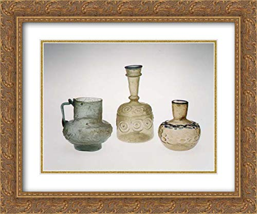 - Islamic Art - 24x20 Gold Ornate Frame and Double Matted Museum Art Print - Ewer with Floral Scroll