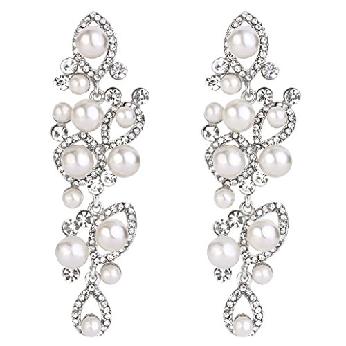 BriLove Women's Vintaged Style Marquise Shape Simulated Pearl Teardrop Hollow Chandelier Dangle Earrings Silver-Tone Clear