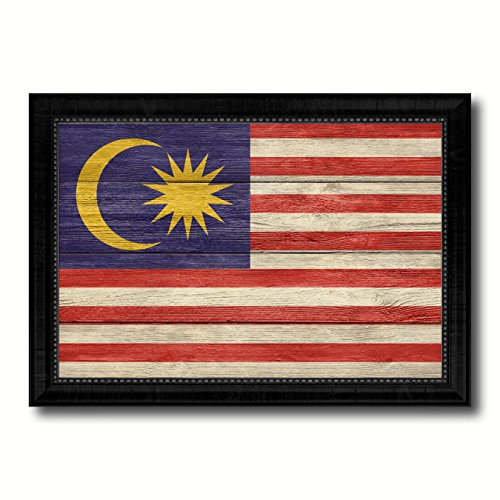 Malaysia Country Flag Texture Canvas Print, Wood Grain Black Picture Frame Gift Ideas Home Decor Wall Art - Pictures Malaysia Country