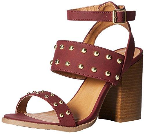 Qupid Women's Wood Heel Heeled Sandal Burgundy Distress Nubuck Polyurethane