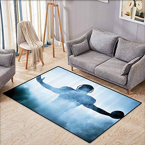 Bath Rug Football Decor Heroic Shaped Rugby Player Silhouette Shadow Standing in Fog Playground Global Sports Photo Blue Super Absorbent mud W7'8 xL4'9