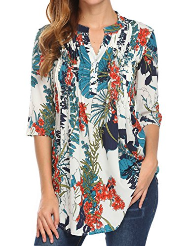Notch Neck Top (Naggoo Womens Floral Printed 3/4 Sleeve Tunic Tops Notch Neck Pintuck Casual Blouses (L, Navy))