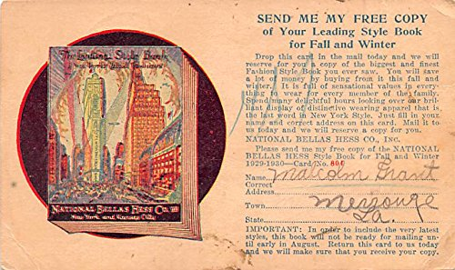 National Bellas Hess Co Advertising Postcard