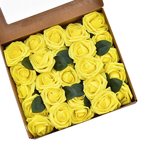 DearHouse Artificial Flowers Roses, 25pcs Real Looking Fake Roses with Stems for DIY Wedding Bouquets Centerpieces Arrangements Birthday Home Party Decorations (Yellow) ()