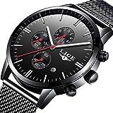 Fashion Casual Luxury Brand Mens Analog Quartz Watch Date Steel Mesh Strap Thin Dial Clock (Black)
