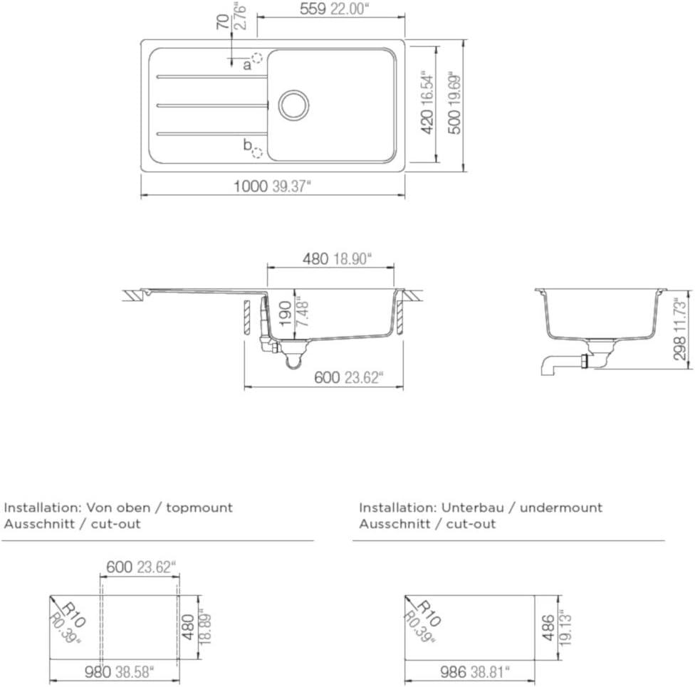 Schock FOMD100LAGAS /Évier de cuisine avec /égouttoir Asphalte D-100L