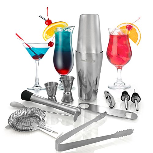 Spoon Boston Stainless Steel (Kitchen Joy Cocktail Shaker Set, Professional Stainless Steel Bar Kit with 25 Ounce Boston Shaker Tin for Drink Mixing (12 Pieces))