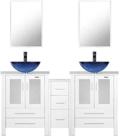 Vanity de salle de bain blanc 152,4 cm, lavabo rond en verre ...