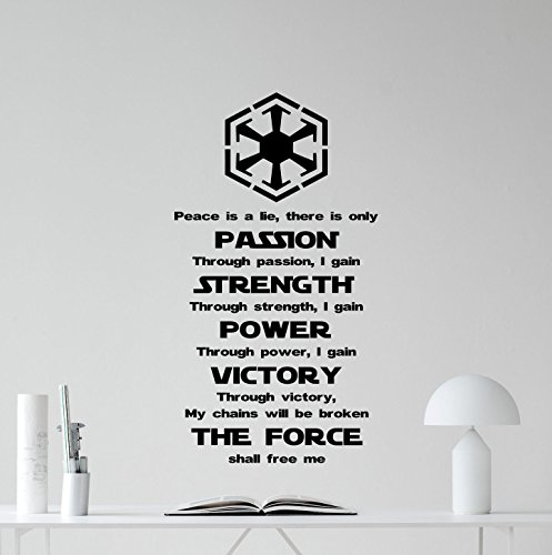 Sith Art (Star Wars Wall Decal Quote Sith Code Codex Darth Vader Vinyl Sticker Movie Cartoons Boy Kids Wall Art Nursery Decor Mural (22