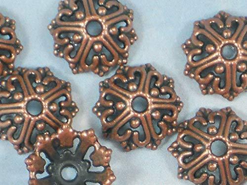 Pendant Jewelry Making 16 Bead Caps Wire Heart Open Design 14mm Copper Tone Bali Style