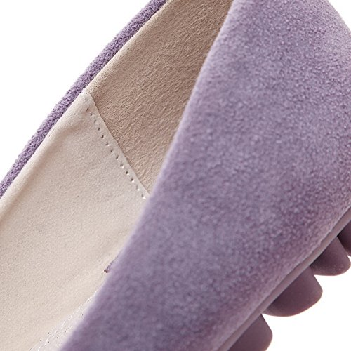 WeenFashion Pull with Solid Toe Closed Flats Womens On Decoration Shoes flowers Purple r6x8pr