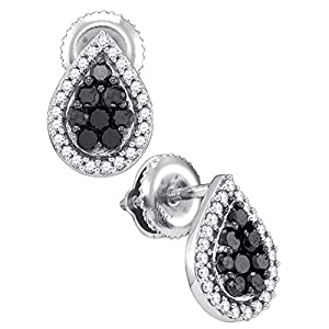 10kt White Gold Womens Round Black Colored Diamond Teardrop Cluster Stud Earrings 1/2 Cttw = 0.55 Cttw ( I2-I3 clarity; Black color )