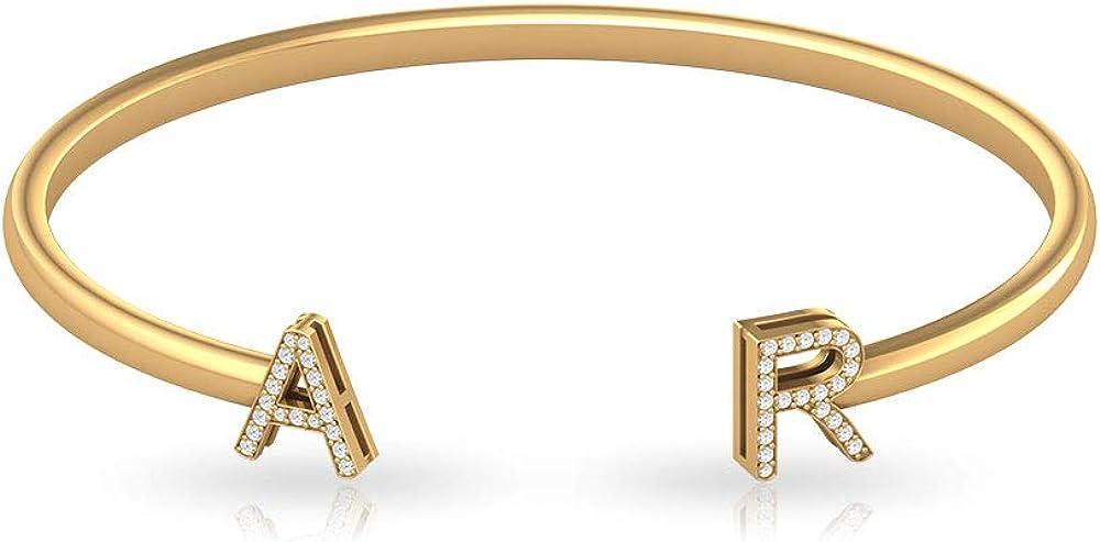 IGI - Pulsera con letra de diamante, certificado por letras, oro, alfabeto inicial, pulsera personalizada para mujer, regalo de San Valentín para ella