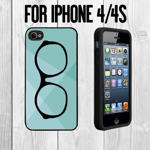 Vintage Hipster Eye Glass Custom made Case/Cover/skin FOR Apple iPhone 4/4S - Black - Rubber Case + FREE SCREEN PROTECTOR ( Ship From - Vintage Ebay Eyeglasses