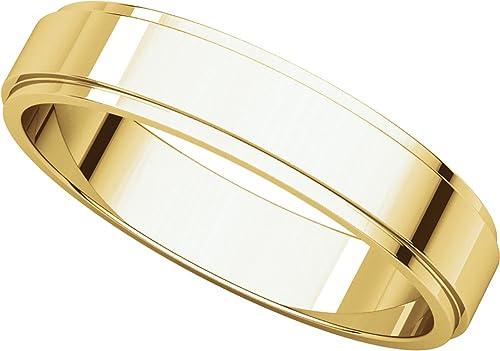 Mens 10K Yellow Gold 5mm Flat Edged Wedding Band Ring