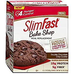 SlimFast Bakeshop, Meal Replacement, Double Chocolate Chip Cookie, With 10g Of Protein & 5g Fiber, 2.4 Oz, 4 Count