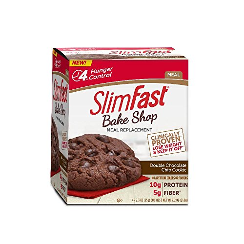 SlimFast Bakeshop Meal Replacement Cookie - Double Chocolate Chip - With 10g Of Protein & 5g Fiber, 2.3 Oz, 4 Count
