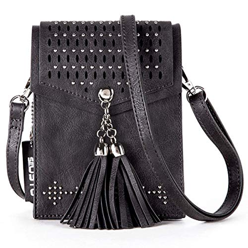 Travel Samsung Black Mini Smartphone Cellphone Under iPhone Small Purse 1 with Bag 7 Tassel Inch SeOSTO Message Wallet Bag Shoulder Body Bag for Cross XwqUSUTg0