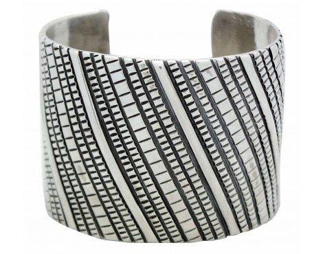 Tillie Jon, Bracelet, Wide, Overlay, Stamped Sterling Silver, Navajo Made, 7.25