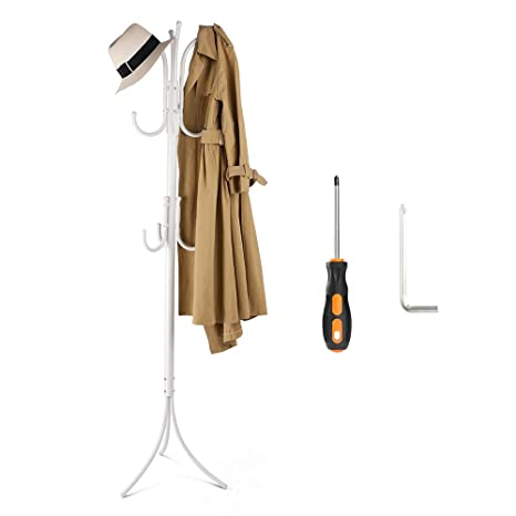 White Wooden Coat Rack Clothes Stand Hat Jacket Standing with 9 Hooks Triangle Support for Entrance Hall Lving Room Bedroom Coat Hanger Stand 176cm Height