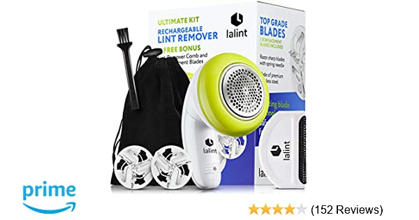 Electric Lint Remover Clothes Shaver Kit, Twist Handle & Large Shaving Head, USB Rechargeable, Cordless, Floating Blades | With Bonus Fabric Fuzz ...