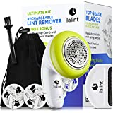 Electric Lint Remover Clothes Shaver Kit, Twist Handle & Large Shaving Head, USB Rechargeable, Cordless, Floating Blades   With Bonus Fabric Fuzz Comb, 2 Spare Blade, Travel Bag & Cleaning Brush