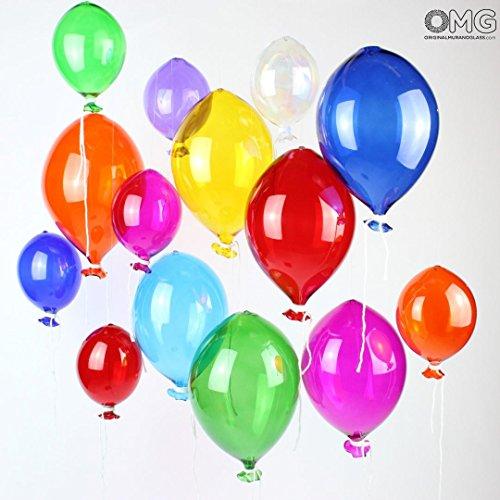 Set of 5 Pieces of Original Murano Glass Balloons in Mixed Colors (15 x 15cm) by ORIGINAL MURANO GLASS OMG