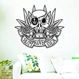 tattoos removable pirates - Wall Vinyl Decal Pirate Skull Vintage Sailor Tattoo Rum Love Sea Decor Sticker Home Print WD9336