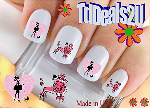 Dog Breed - Poodle #2 I Love Pink Poodle Nail Decals - WaterSlide Nail Art Decals - Highest Quality! Made in USA