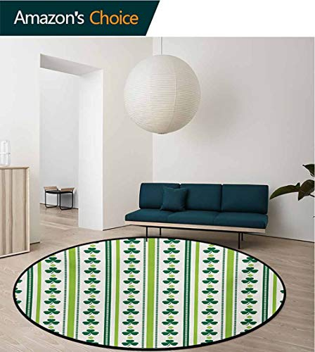 Floral Rug Round Home Decor Area Rugs,Clovers Vertical Lines And Dots Irish Traditional Floral Pattern Non-Skid Bath Mat Living Room/Bedroom Carpet,Diameter-55 Inch Lime Green Dark Green White