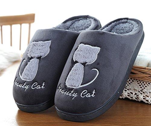 Cattior Heren Bont Gevoerde Warme Schattige Pantoffels Pluizige Pantoffels Grijs