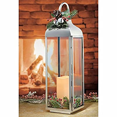 "27.5"" Large Polished Stainless Steel Lantern with Flickering LED Candle"