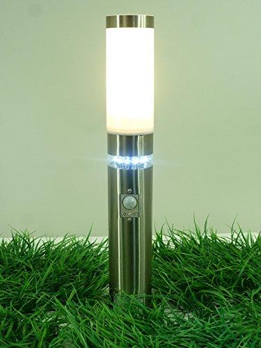 Edelstahl LED Außenleuchte Sockelleuchte Stella mit Bewegungsmelder, Außenlampe Wegeleuchte
