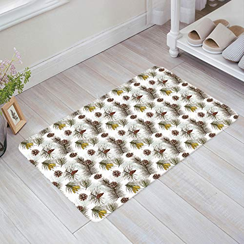 (Prime Leader Doormats for Entrance Way Indoor Christmas Pine Pinecone Pattern Welcome Mats 18