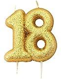 Aniversario Casa Color Dorado con purpurina números moldeado vela para tarta–no 18