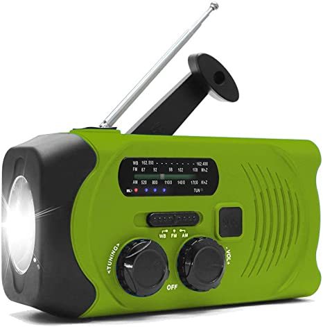 YLOVOW Manivela de Emergencia Autoamplificado Radio Am/FM NOAA ...