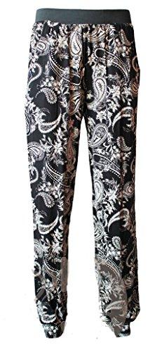 GC® Mujer 2bolsillos floral Harem Pantalones Impreso Pompón parte inferior de pantalones Regular y Plus tamaños 8–�?6 Paisley