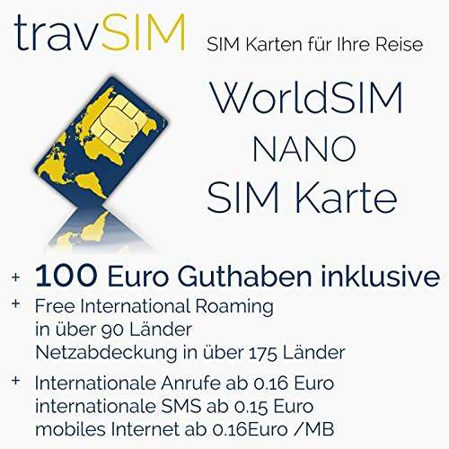 100(EUR) Prepaid WorldSIM card to use Globally with talk, sms and data options also Rechargeable by travsim (Image #1)
