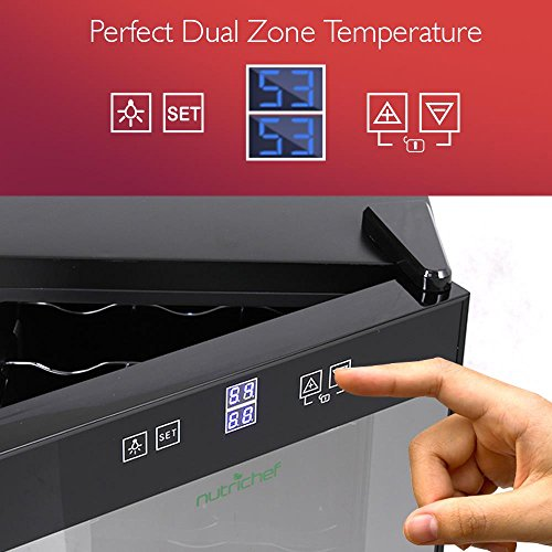 NutriChef Thermoelectric Wine Cellar - Red and White Wine Cooler- Dual Zone Wine Chiller - 18 Bottles Countertop Wine Refrigerator - LCD Display Digital Touch Controls – Great for Home or Events by NutriChef (Image #2)